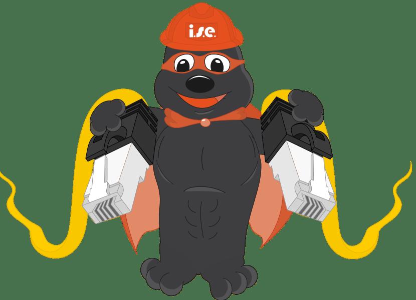 Header der ise IT-Services. Das isepos Maskottchen zieht zwei große Lankabel hinter sich her