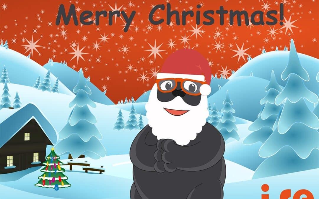 Der iseMOLE, das Maskottchen der isepos GmbH, mit ein Weihnachtsmütze. Im Hintergrund eine Winterlandschaft