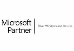 Das Logo von Micrisoft Silver Partner vor weißem Hintergrund