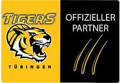 Das offizielle Partner Logo der Tigers Tübingen. Links ein Tigerkopf. Rechts eine Tigerkralle