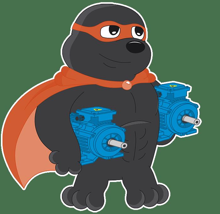 Der iseMOLE, das Maskottchen der isepos GmbH, hält zwei blaue Schrittmotoren in seinen Händen